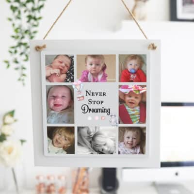 Personalised Never Stop Dreaming Wooden Hanging Sign
