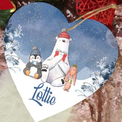 Personalised Christmas Wooden Hanging Heart
