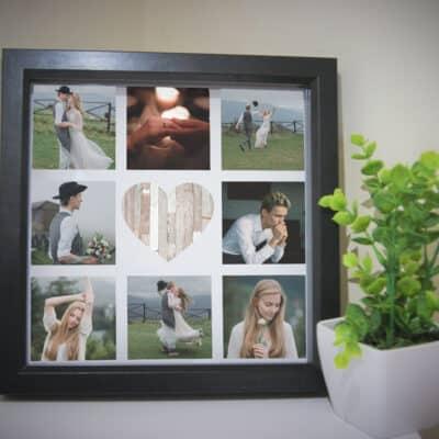 Personalised Rustic Heart Deep Box Frame