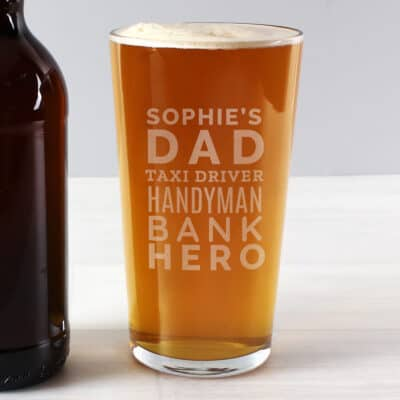 Personalised Dad Jobs Pint Glass