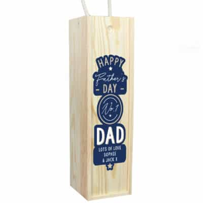 Personalised Happy Father's Day No.1 Dad Wooden Wine Bottle Box