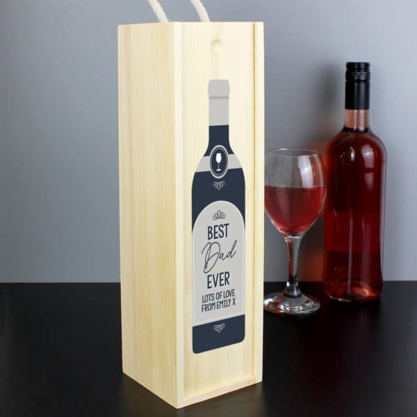 Personalised Free Text Grey Wooden Wine Bottle Box