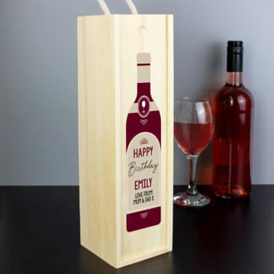 Personalised Free Text Red Wooden Wine Bottle Box