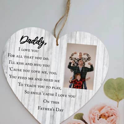 Personalised Daddy I Love You Wooden Hanging Heart