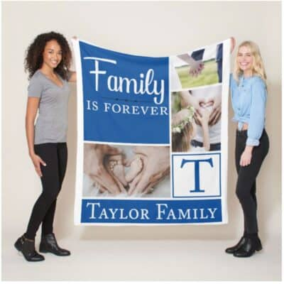 Personalised Family Is Forever Polor Fleece Blanket