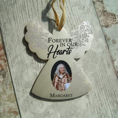 Personalised Forever In Our Hearts Hanging Angel