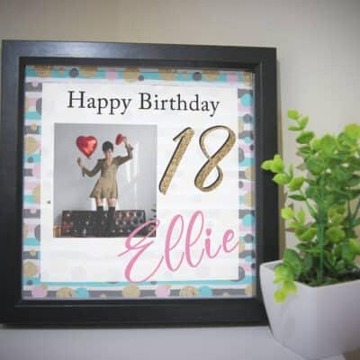 Personalised Glitter Birthday Deep Box Frame
