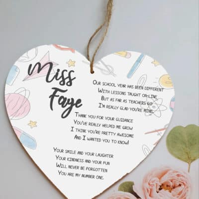 Personalised Our School Wooden Hanging Heart