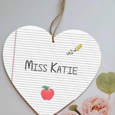 Personalised Teacher Wooden Hanging Heart