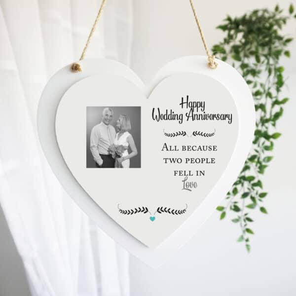 Personalised Wedding Anniversary Luxury Wooden Hanging Heart
