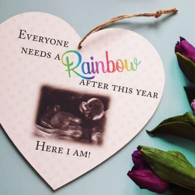 Personalised Everyone Needs A Rainbow Wooden Hanging Heart
