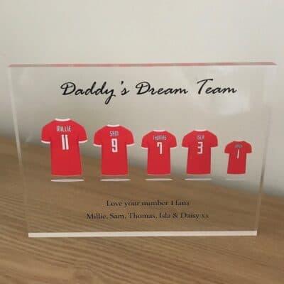 Personalised Football Shirt Acrylic Photo Block