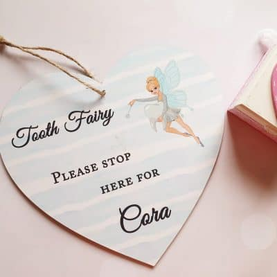 Personalised Tooth Fairy Wooden Hanging Heart