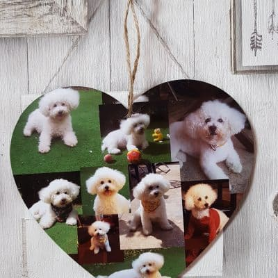 Personalised Photo Collage Wooden Hanging Heart