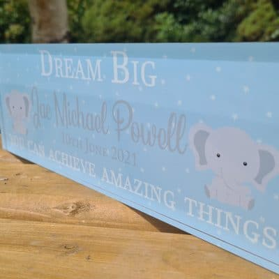 Personalised Dream Big Boy Acrylic Mantel Block