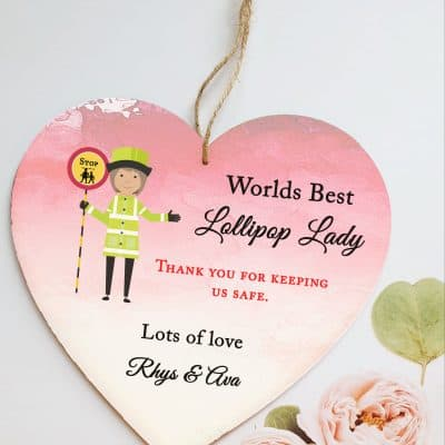 Personalised Lollipop Lady Wooden Hanging Heart