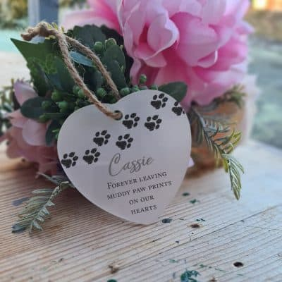 Personalised Forever Leaving Paw Prints Heart Ornament