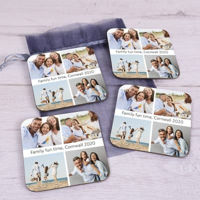 Personalised 4 Photo And Message Coaster Set