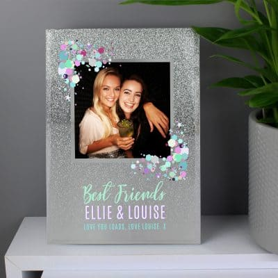 Personalised Festival Style 4 x 4 Glitter Glass Photo Frame