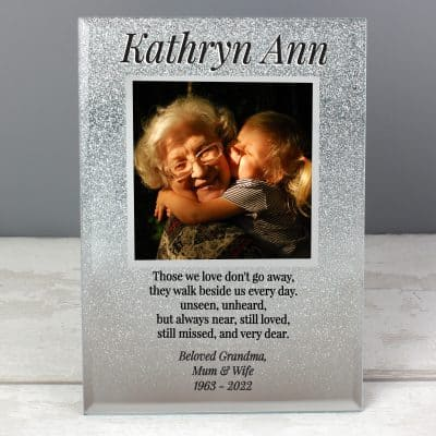 Personalised Memorial 4 x 4 Glitter Glass Photo Frame