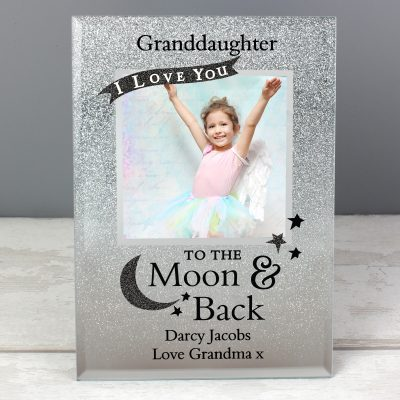 Personalised To The Moon And Back 4 x 4 Glitter Glass Photo Frame