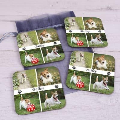 Personalised Four Photo Pet Coaster Set