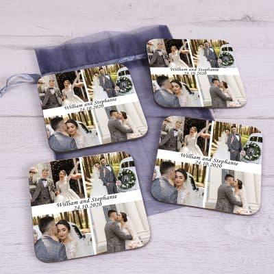 Personalised Four Photo Wedding Coaster Set