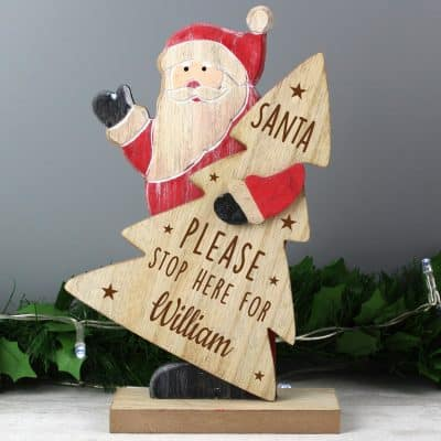 Personalised Santa Stop Here Wooden Decoration