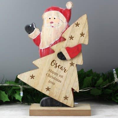 Personalised Santa Snowflake Wooden Decoration