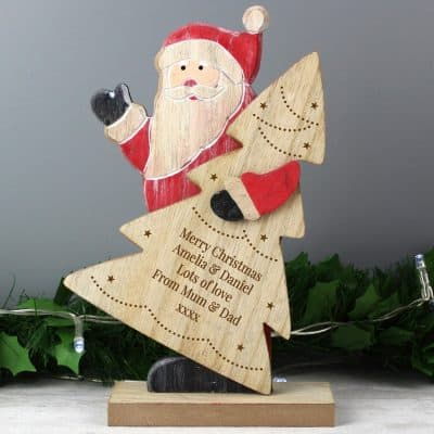 Personalised Santa Tinsel Message Wooden Decoration