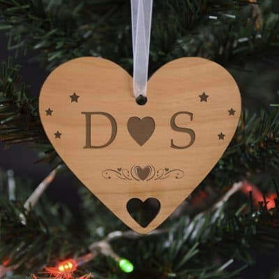 Personalised Initials Heart Wooden Hanging Decoration