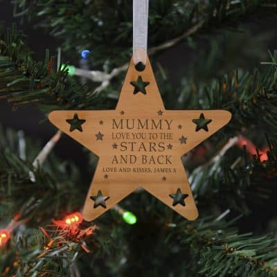 Personalised Stars And Back Wooden Hanging Decoration