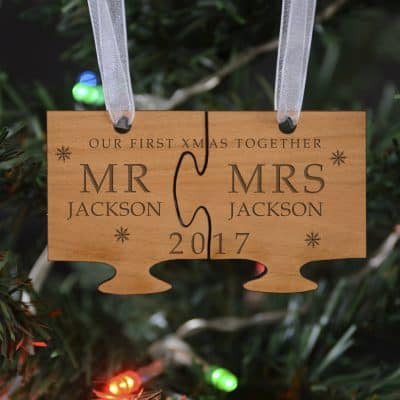 Personalised Our First Christmas Wooden Hanging Decoration