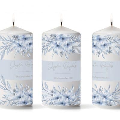 Personalised Blue Floral Band Pillar Candle