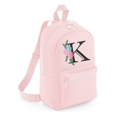 Personalised Floral Letter Mini Backpack
