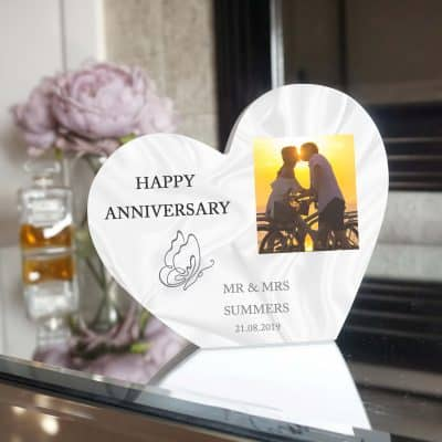 Personalised Happy Anniversary Heart Photo Block