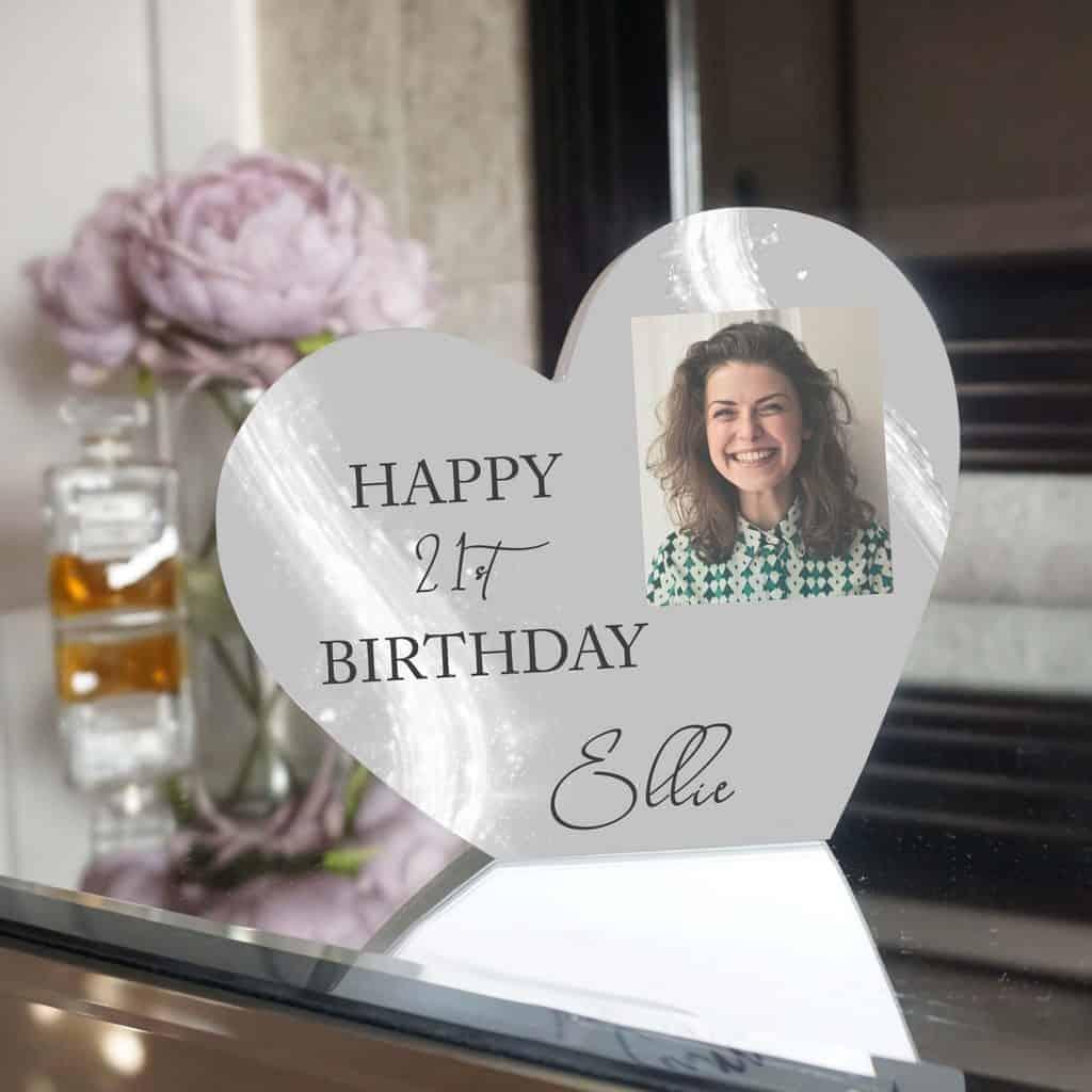 Personalised Happy Birthday Grey Heart Photo Block