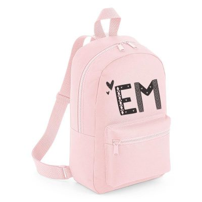 Personalised Heart Text Mini Backpack