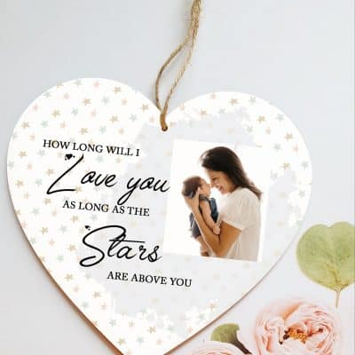 Personalised How Long Will I Love You Wooden Hanging Heart