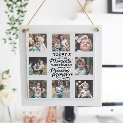 Personalised Todays Little Moments Wooden Hanging Sign