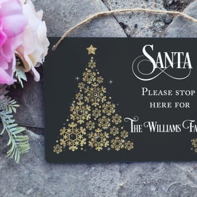 Personalised Family Santa Stop Here Hanging Sign
