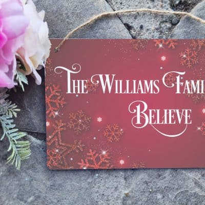 Personalised Believe Hanging Sign